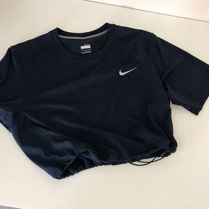Navy Nike drifit drawstring crop